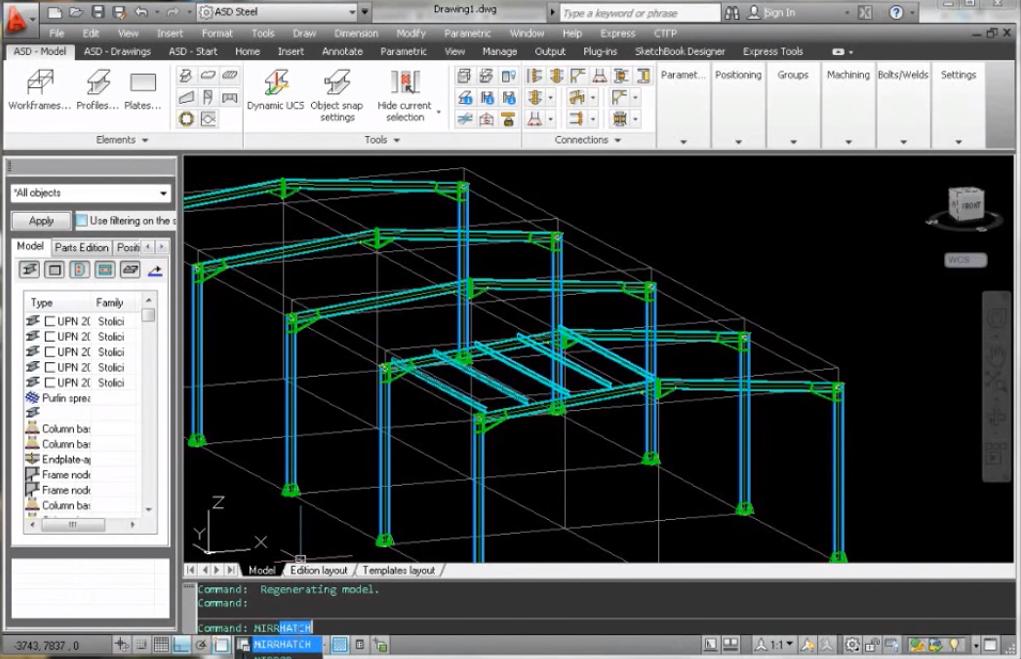 Екран на AutoCAD Structural Detailing