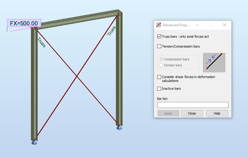 Рамка с опън-натискови пръти в Rоbot Structural Analysis