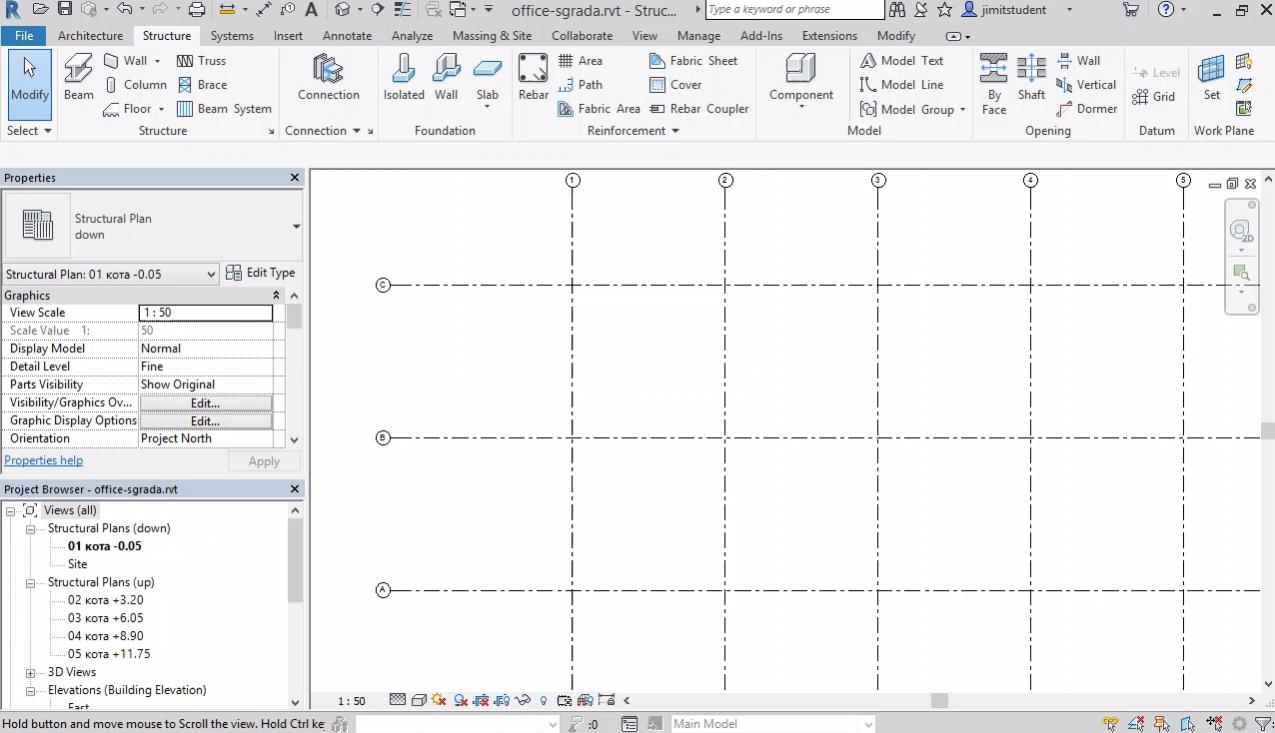 Създаване на нов модел, нива (Levels), оси и изгледи в план