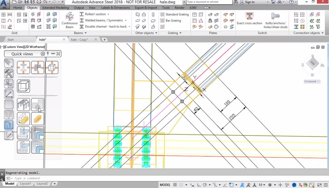 Моделиране на хоризонтална връзка. Прилагане на Features (изрязвания) на профили и плочи