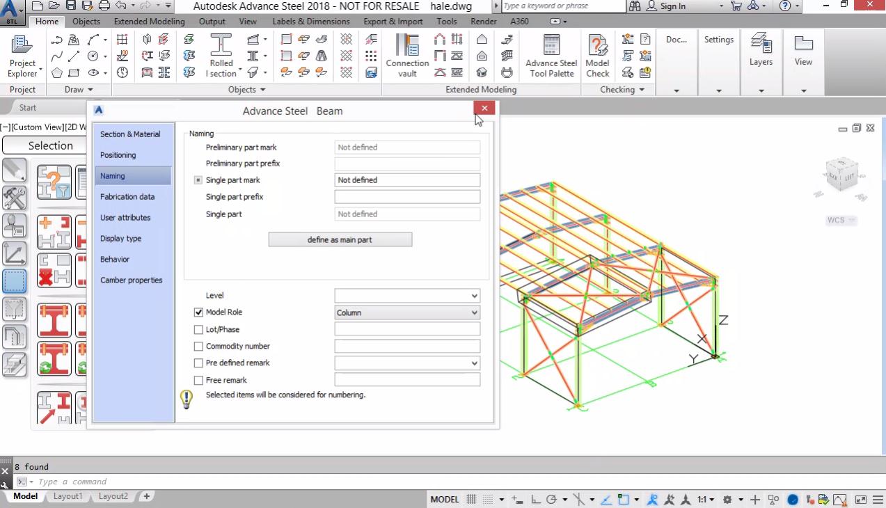 Моделиране на СТБ елементи. Задаване на Model roles. Номериране на марки и позиции