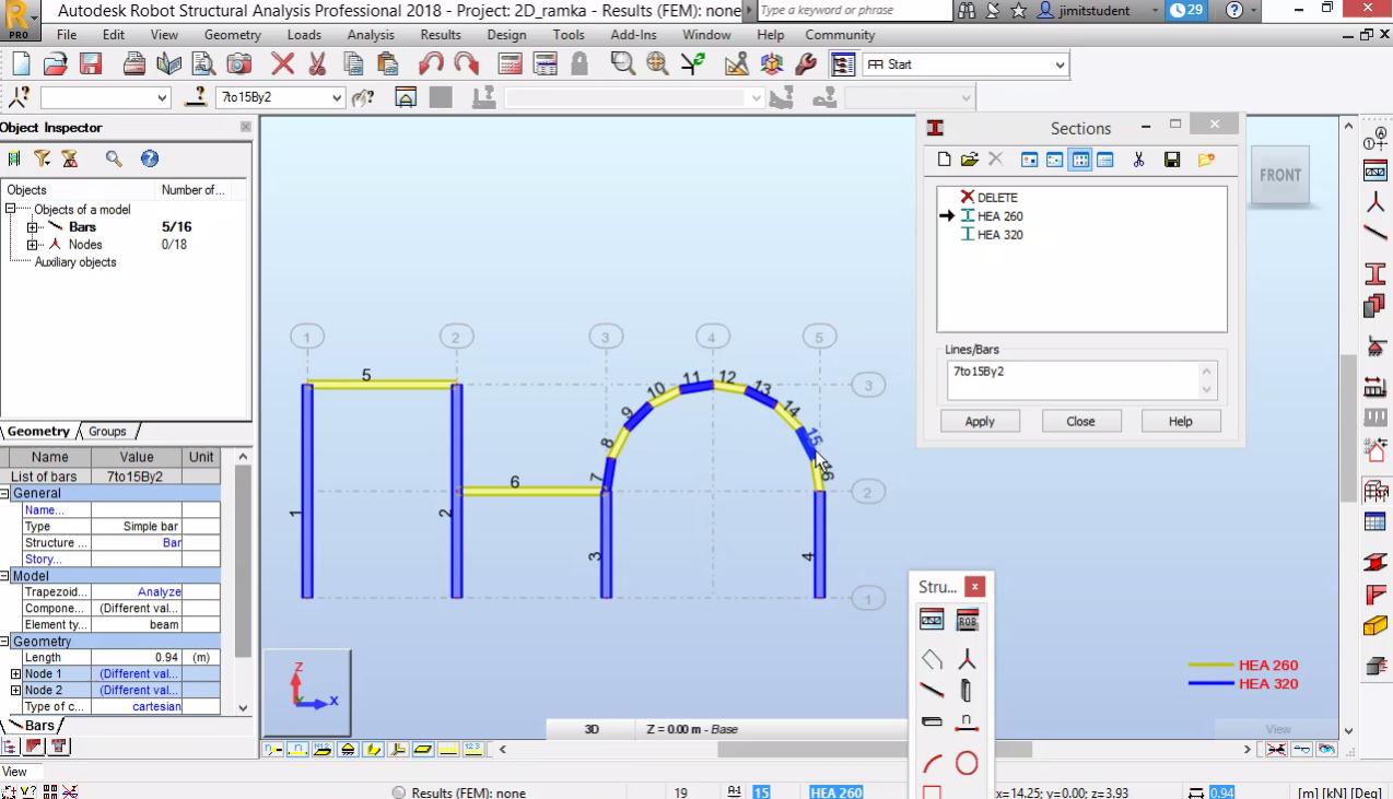 Моделиране на равнинна рамка - геометрия