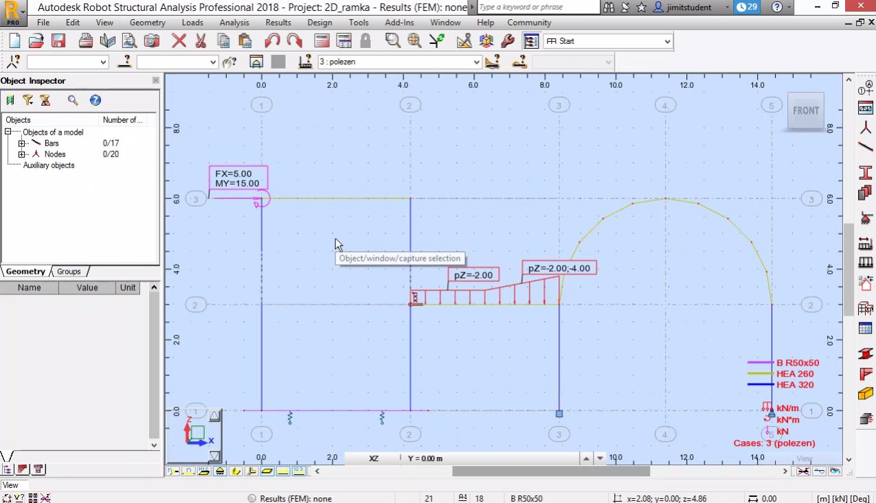 Моделиране на равнинна рамка - сечения, натоварване*
