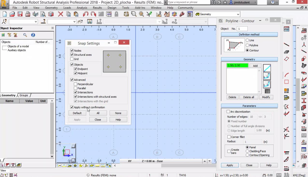 Моделиране на равнинна плоча -геометрия