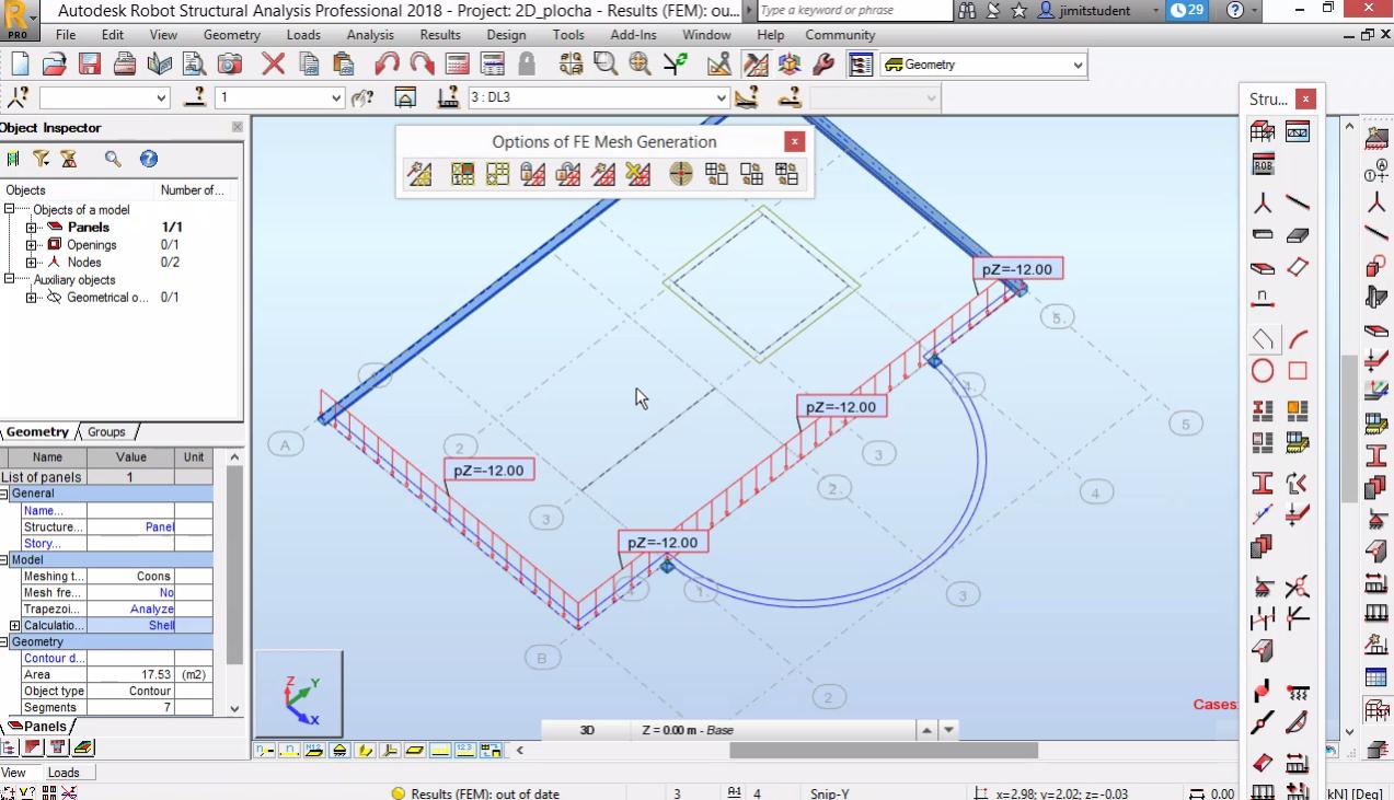 Моделиране на равнинна плоча - още геометрия, натоварване, резултати