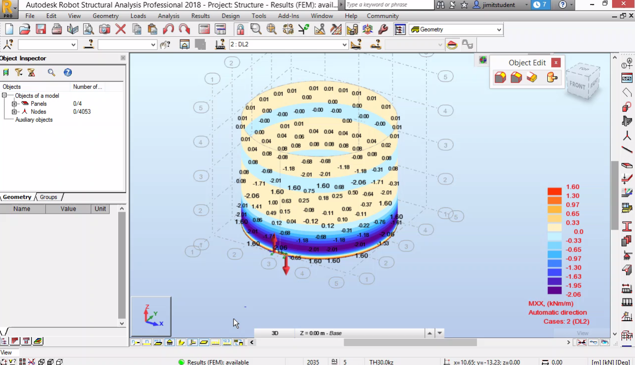 Анализ с големи премествания. Въжета. Моделиране на черупки. Прехвърляне от Revit