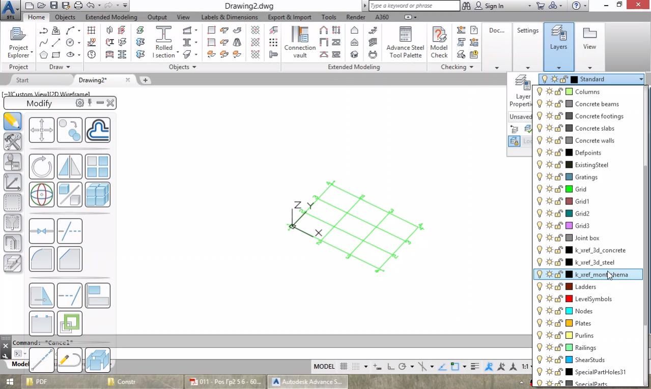 Основни настройки. Започване на нов модел, създаване на оси. Моделиране на колони и греди