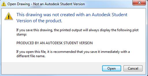 AutoCAD предупреждение за комерсиален лиценз