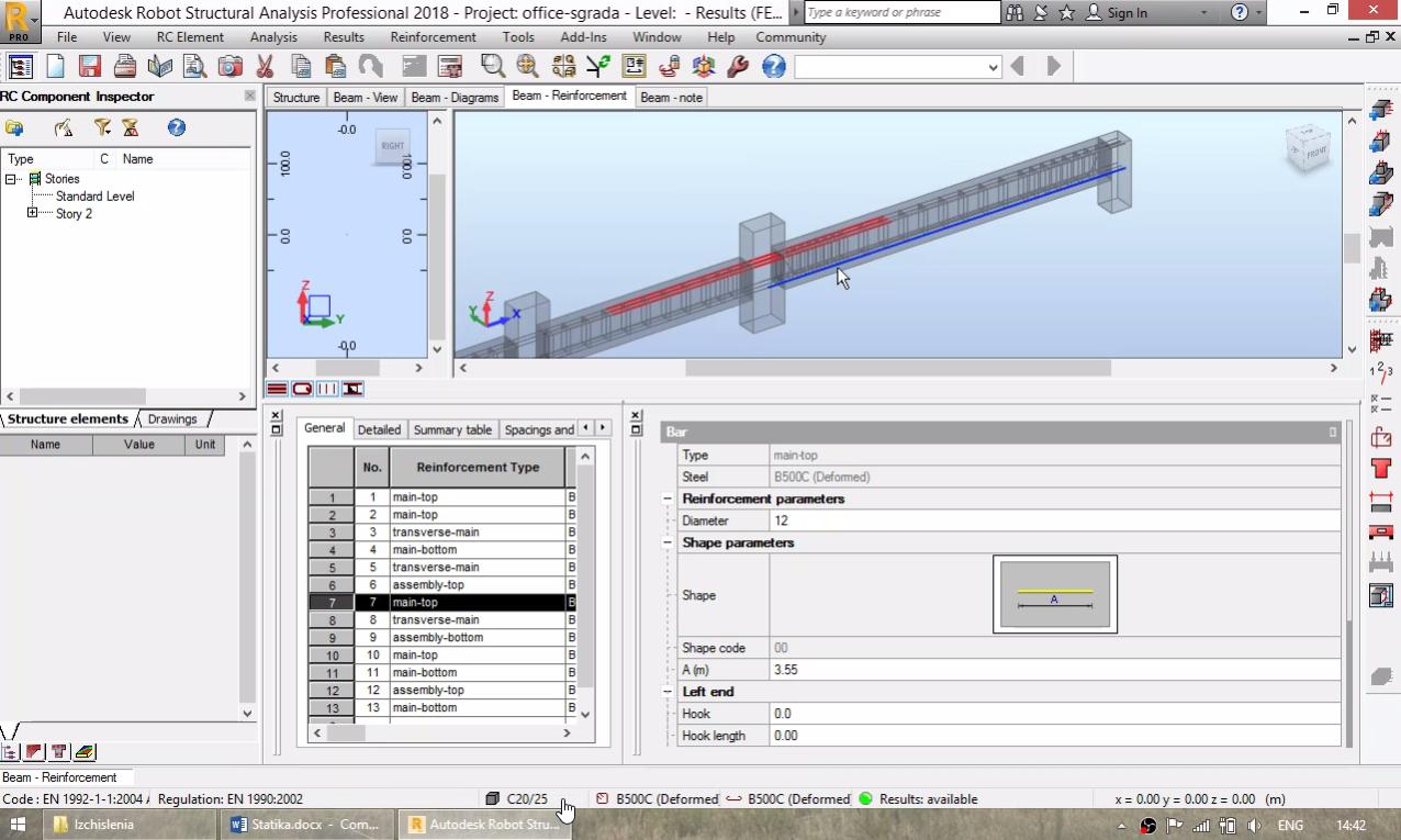 СТБ сграда - оразмеряване греди и колони (prov.reinf.)