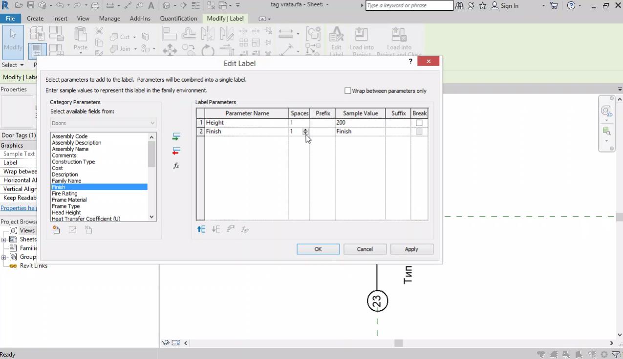 Repeating detail. Tag за врата, прозорец и стълба. Shared parameters. Вертикални коти