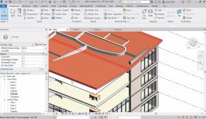 Стени - преминаване пред плоча, настройка join в план. Моделиране на покриви. Моделиране на дървен покрив