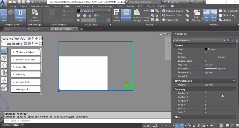 Създаване на разрез, 3D изгледи детайли. КМД на колона и греди. Рамка за чертежи (Prototypes)