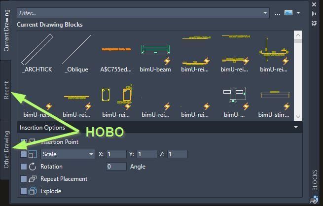 AutoCAD 2020 - нова палета за вмъкване на блокове