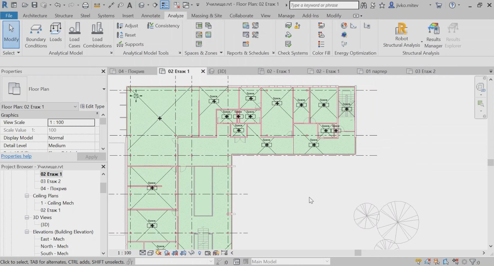 Създаване на нива (Levels). Копиране от архитектурата. Добавяне на изгледи към нивата. Създаване на пространства (Spaces)