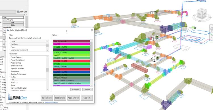 цветна схема по размер за фитинги и въздуховоди
