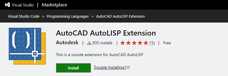 Autocad Autolisp екстенжън за VS Code