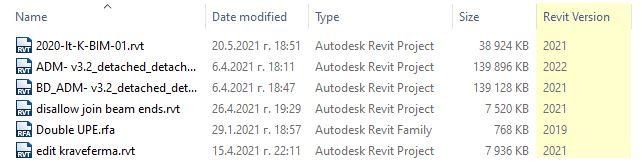 Изглед на Revit версията в Explorer-а